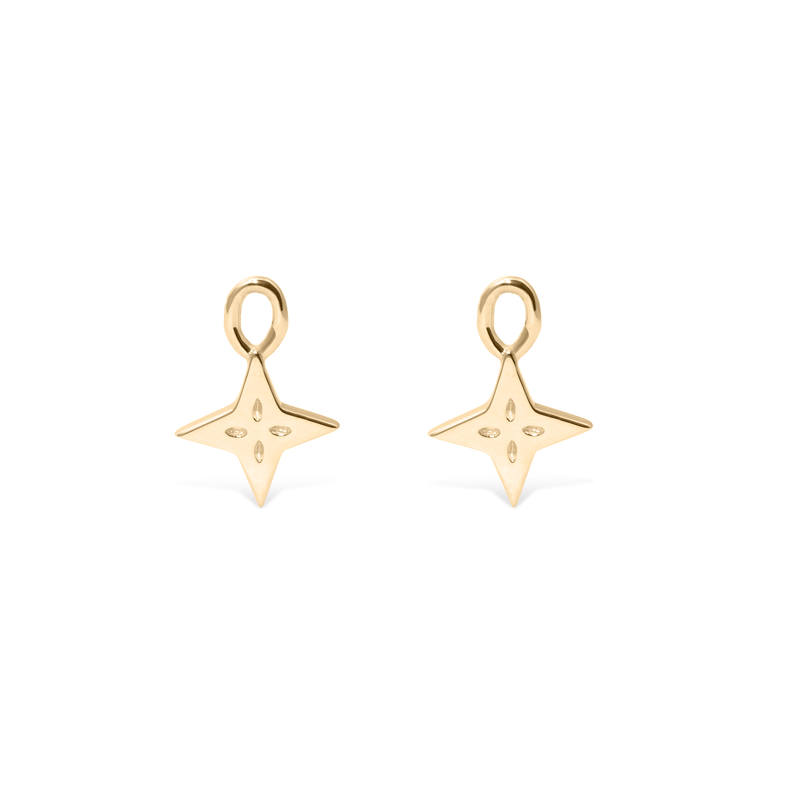 Shooting Star Pendant Set (Pair) - Solid Gold Jewelry useless 14ct solid Gold