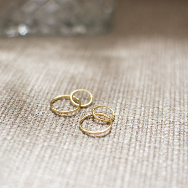 Simple Double Hoop Ohrringe Solid Gold 14k Jewelry stilnest