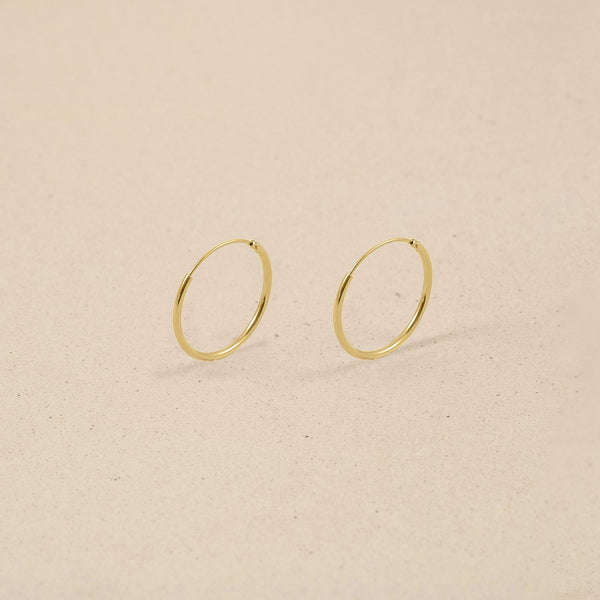 Simple Hoop Ohrringe 14k Massivgold Jewelry stilnest 14k Massivgold 13mm