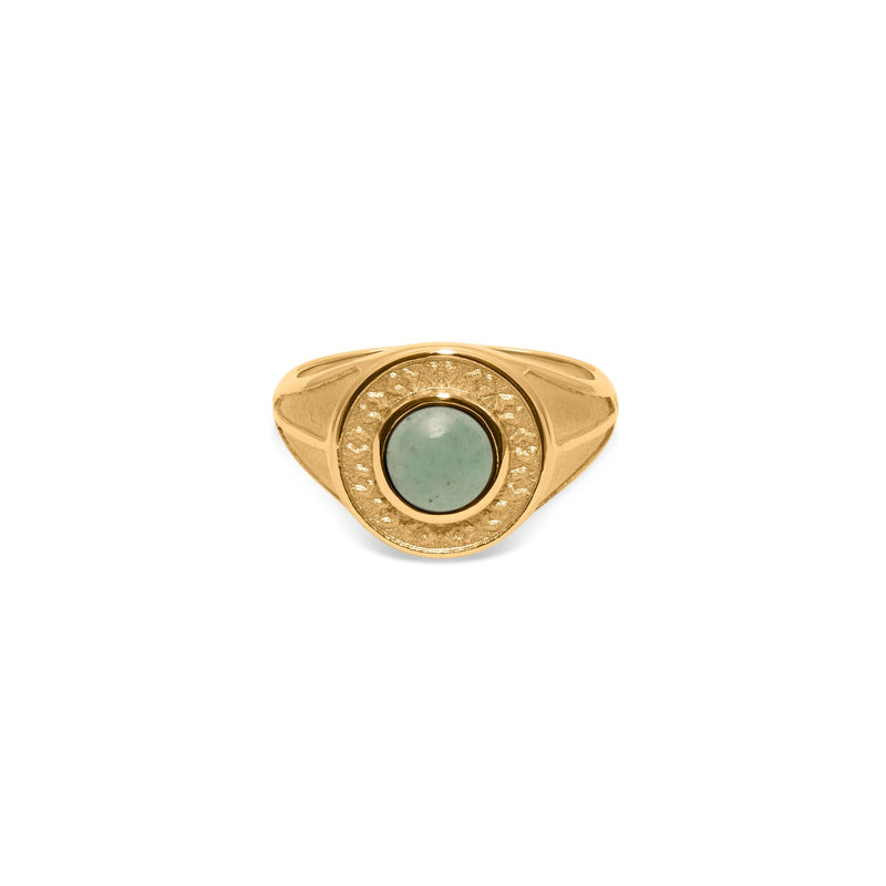 Solace Stone Ring Jewelry taylor-lashae 24ct Gold Vermeil XS - 49 (15.6mm) Aventurine Quartz