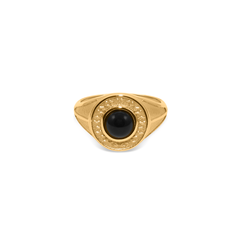 Solace Stone Ring Jewelry taylor-lashae 24ct Gold Vermeil XS - 49 (15.6mm) Black Onyx