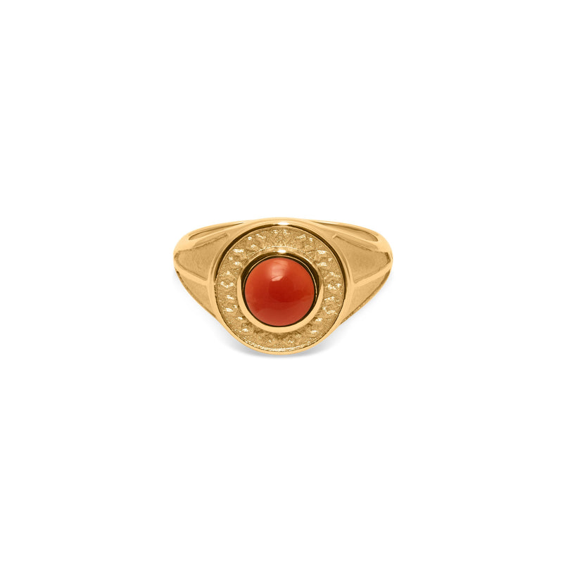 Solace Stone Ring Jewelry taylor-lashae 24ct Gold Vermeil XS - 49 (15.6mm) Red Agate