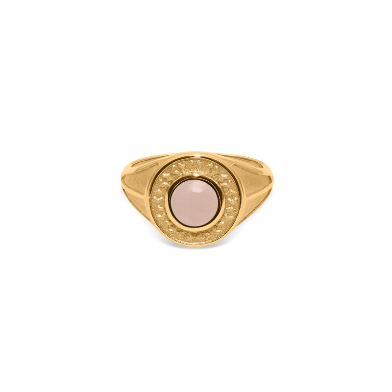 Solace Stone Ring Jewelry taylor-lashae 24ct Gold Vermeil XS - 49 (15.6mm) Rose Quartz