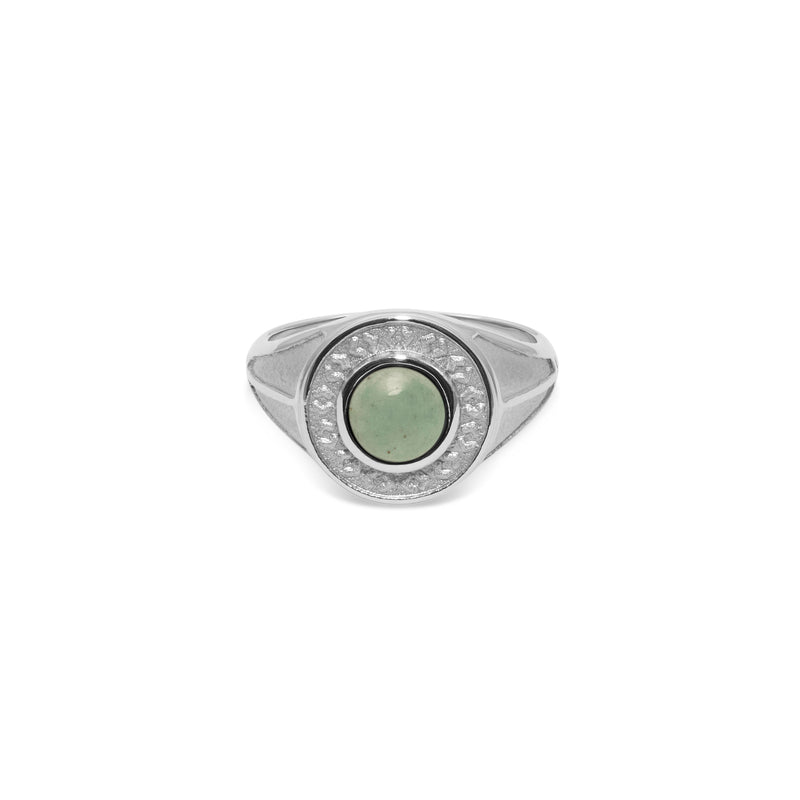 Solace Stone Ring Jewelry taylor-lashae Rhodium Plated 925 Silver XS - 49 (15.6mm) Aventurine Quartz
