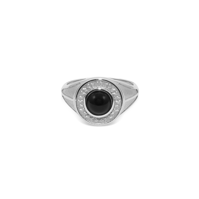 Solace Stone Ring Jewelry taylor-lashae Rhodium Plated 925 Silver XS - 49 (15.6mm) Black Onyx