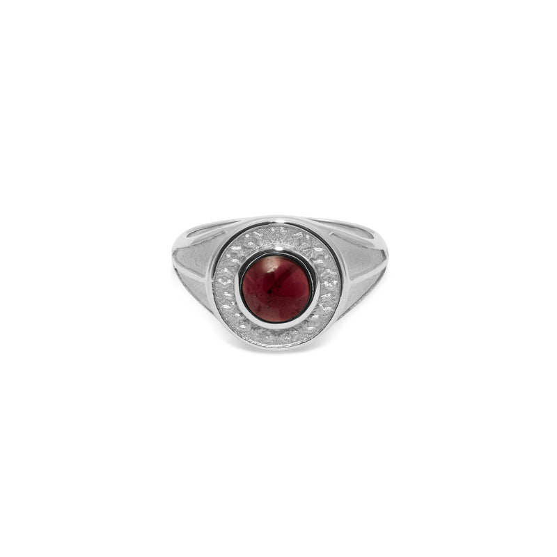 Solace Stone Ring Jewelry taylor-lashae Rhodium Plated 925 Silver XS - 49 (15.6mm) Garnet Stone