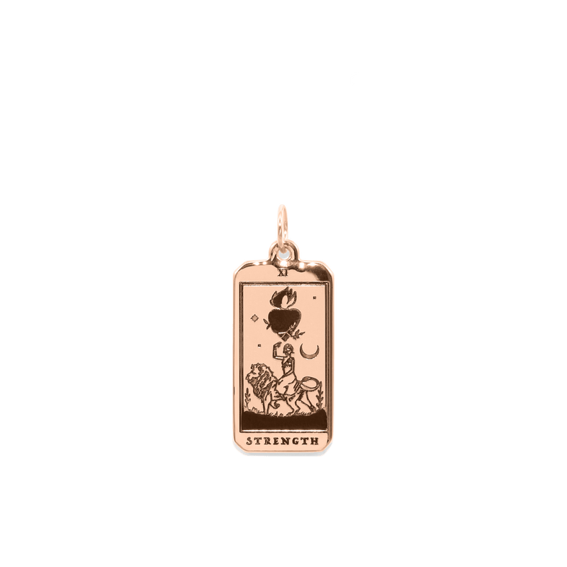 Strength Tarot Card Anhänger Jewelry jacko-wusch Rose Gold Vermeil