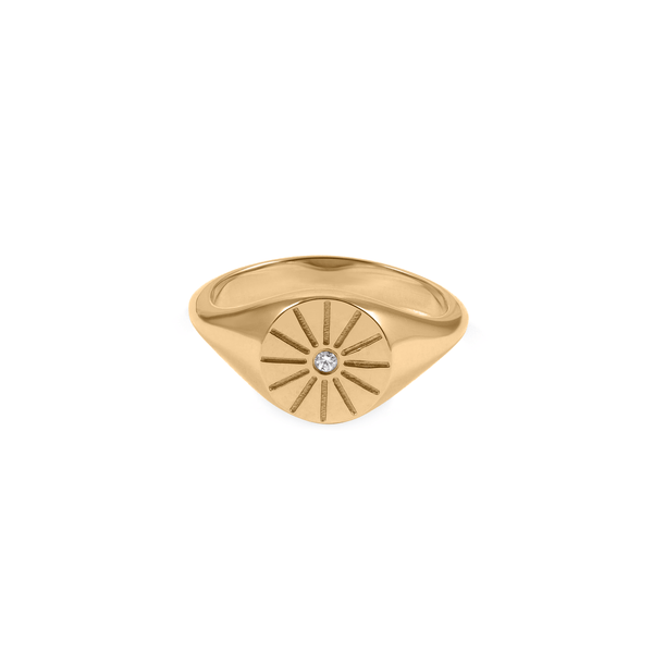 Sunrise Signet Ring Jewelry useless 24ct Gold Vermeil XS - 49 (15.6mm)