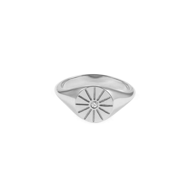 Sunrise Signet Ring Jewelry useless 925 Silver XS - 49 (15.6mm)