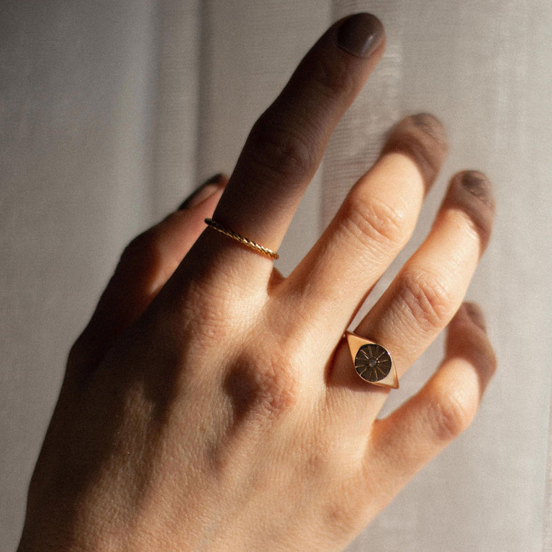 Sunrise Signet Ring - Solid Gold Jewelry useless