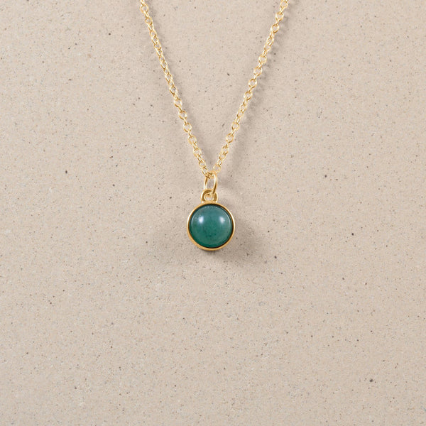 The Color Kette Aventurine Quartz Jewelry frau-hoelle 24ct Gold Vermeil 60cm