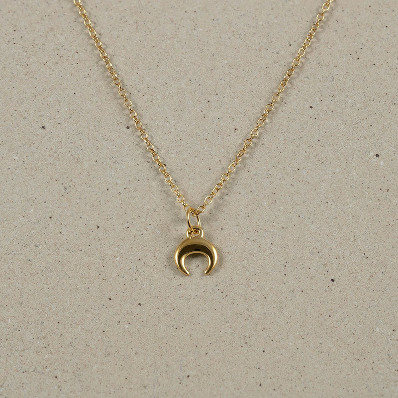 The Everyday Moon Necklace Jewelry Stilnest 24ct Gold Vermeil Anchor Chain/Ankerkette S (45cm)