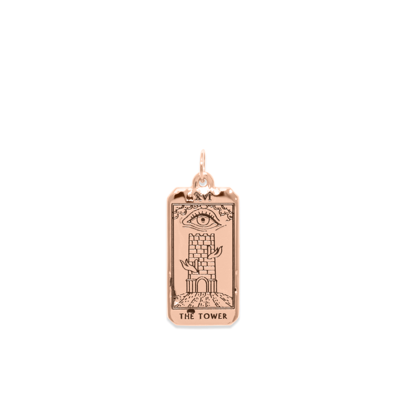 The Tower Tarot Card Anhänger Jewelry jacko-wusch 925 Silver Rose Gold Plated