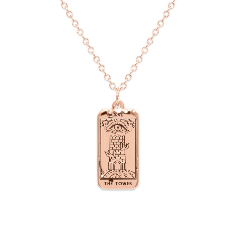 The Tower Tarot Card Kette Jewelry jacko-wusch 925 Silver Rose Gold Plated S (45cm)