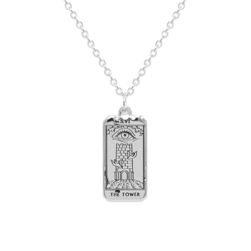 The Tower Tarot Card Kette Jewelry jacko-wusch 925 Silver S (45cm)