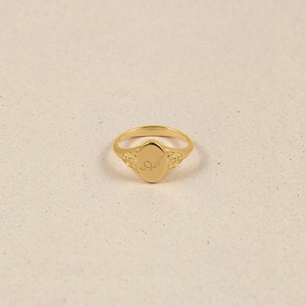 Victorian Initial Ring Jewelry stilnest 24ct Gold Vermeil XS - 49 (15.6mm)