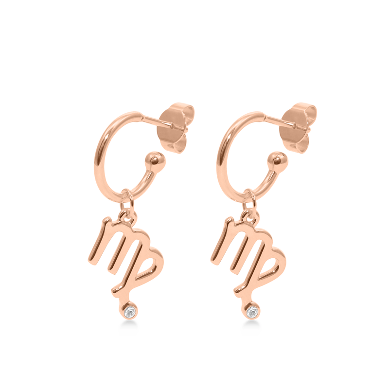 Virgo Hoop Jewelry luisa-lion Rose Gold Vermeil Pair
