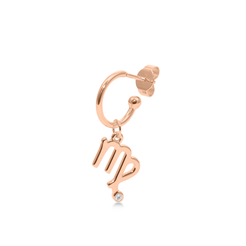 Virgo Hoop Jewelry luisa-lion Rose Gold Vermeil Single