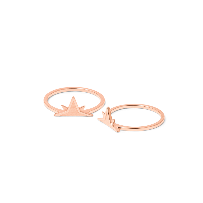 Wanderlust Stackable Ring Paar Jewelry phiaka 925 Silver Rose Gold Plated S - 52 (16.6mm)