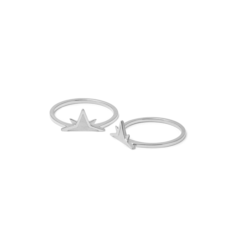 Wanderlust Stackable Ring Paar Jewelry phiaka Rhodium Plated 925 Silver XS - 49 (15.6mm)