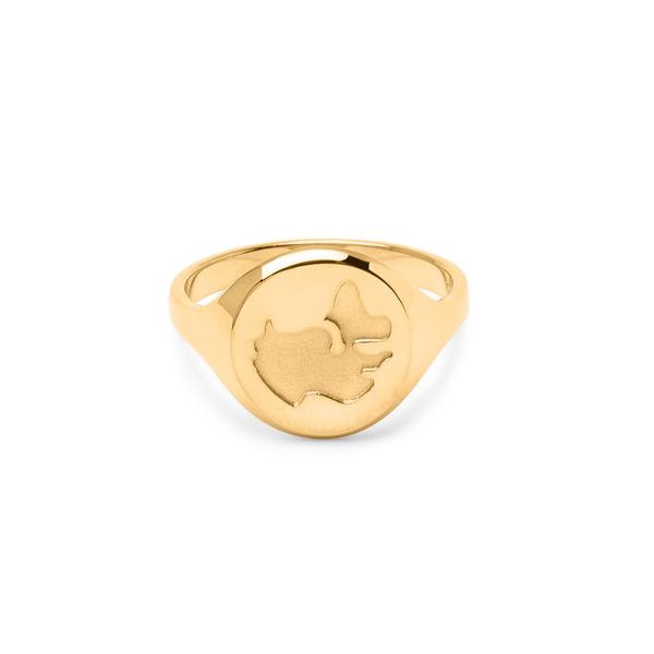 Worldmap Ring Jewelry luisa-lion 925 Silver Gold Plated S - 52 (16.6mm)