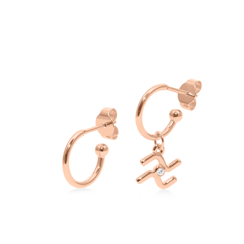 Zodiac Hoops + Aquarius Anhänger Jewelry luisa-lion Rose Gold Vermeil