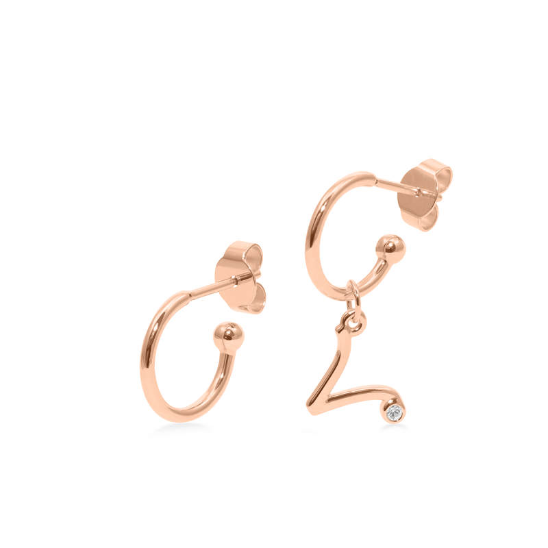 Zodiac Hoops + Aries Anhänger Jewelry luisa-lion Rose Gold Vermeil