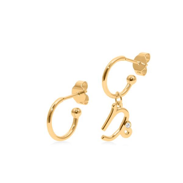 Zodiac Hoops + Capricorn Anhänger Jewelry luisa-lion 24ct Gold Vermeil