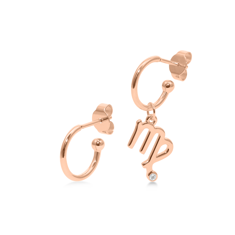 Zodiac Hoops + Virgo Anhänger Jewelry luisa-lion Rose Gold Vermeil