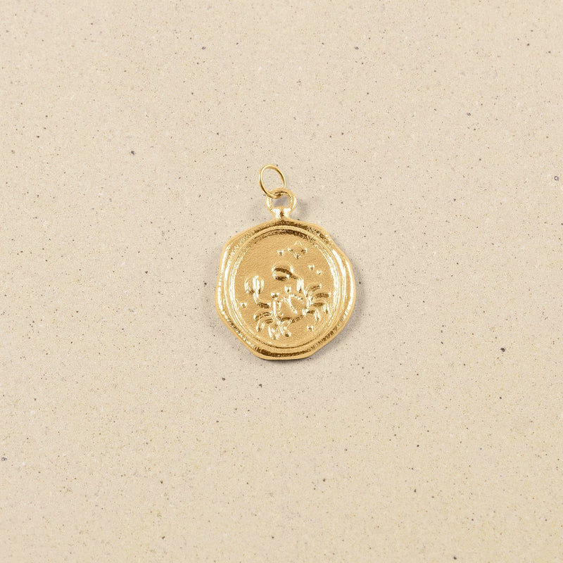 Zodiac Seal Anhänger 24k Gold Vermeil Jewelry stilnest Krebs