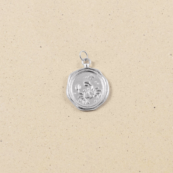 Zodiac Seal Anhänger Rhodium Plated 925 Silver Jewelry stilnest Krebs