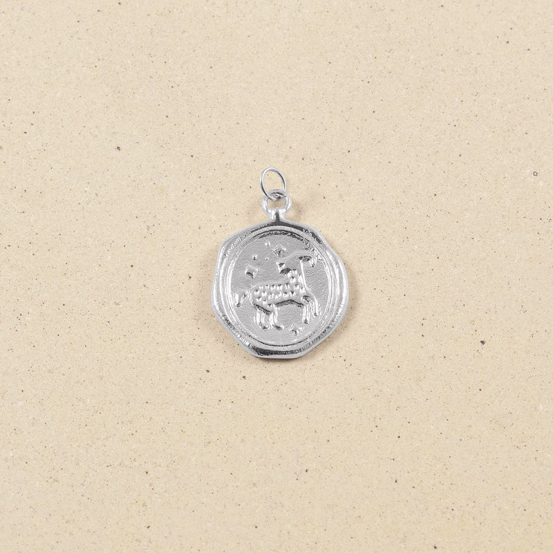 Zodiac Seal Anhänger Rhodium Plated 925 Silver Jewelry stilnest Widder