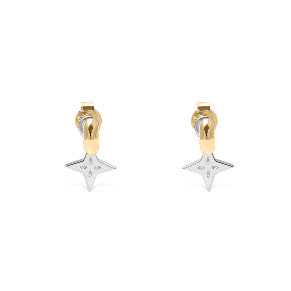 Shooting Star Pendant Set (Pair) Silver + Gold Tide Studs