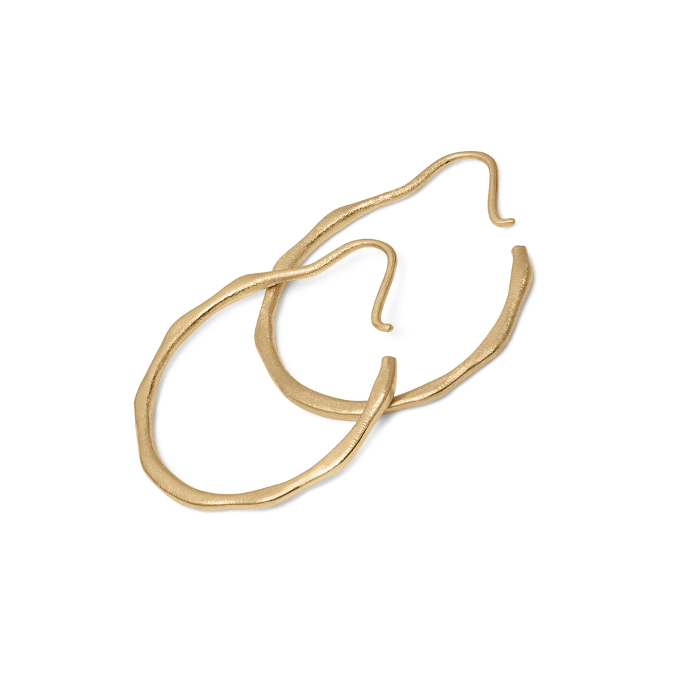 Fluid Hoop Earrings Solid Gold 14 ct