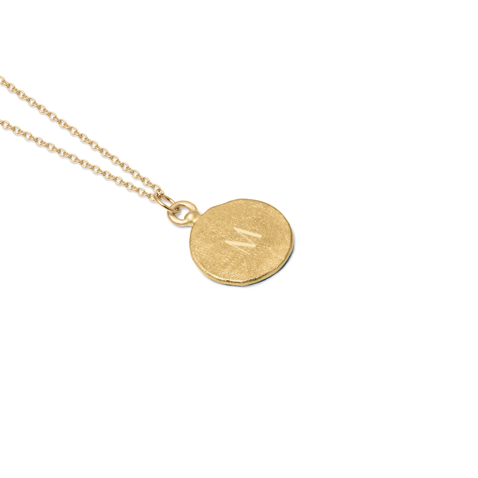 Fluid Letter Medaillon Necklace Solid Gold 14 ct