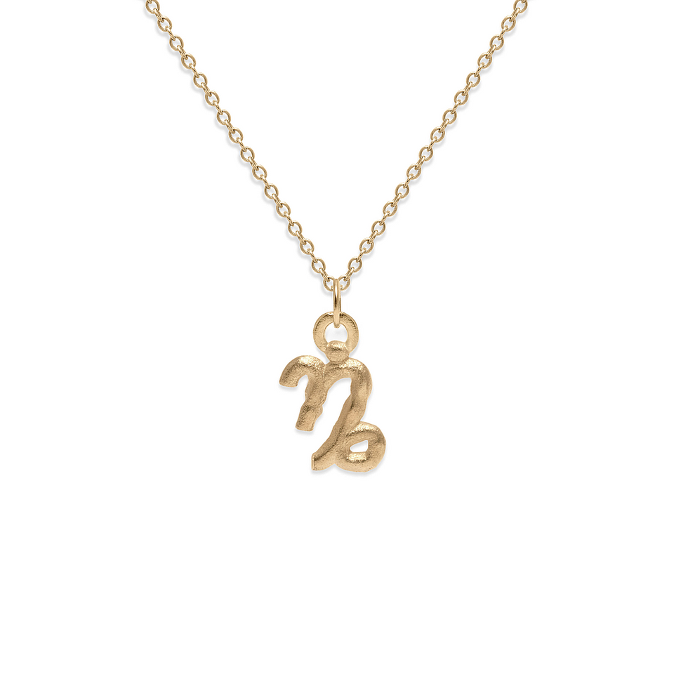 Zodiac Charm Necklace (Capricorn) Solid Gold 14 ct