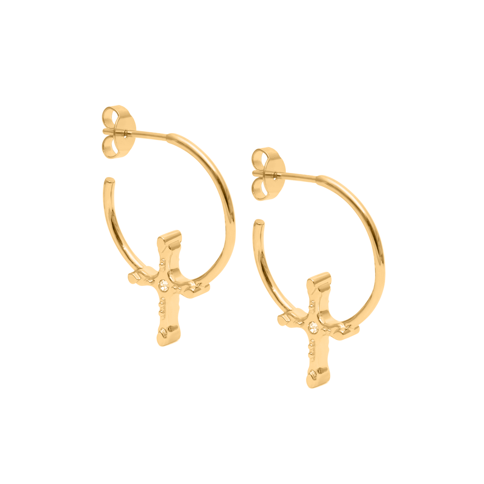 Belief Cross Hoop Earrings