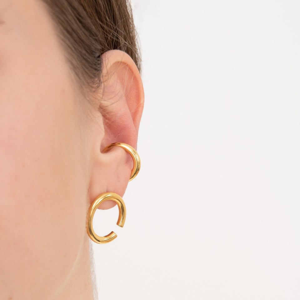 Bold Revolve Earrings - Solid Gold