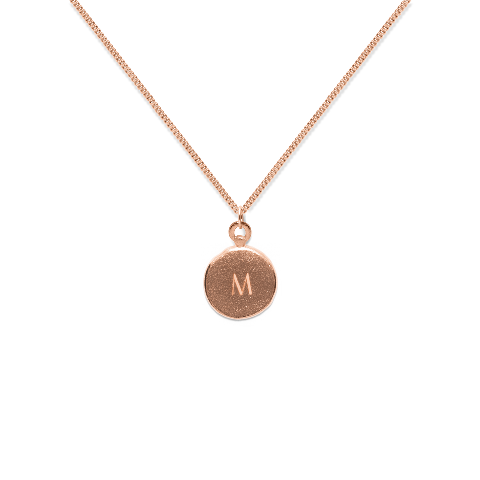 Fluid Letter A-Z Medaillon Necklace Rose Gold Vermeil