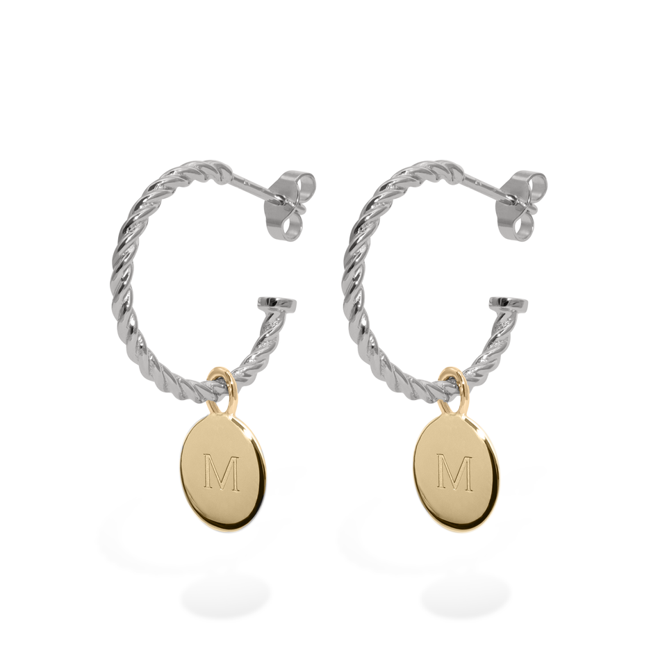 Engravable Meadow Pendant Pair Gold + Dune Hoops Silver