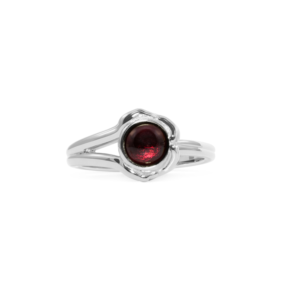 Gypsy Girl Crystal Ball Ring Garnet