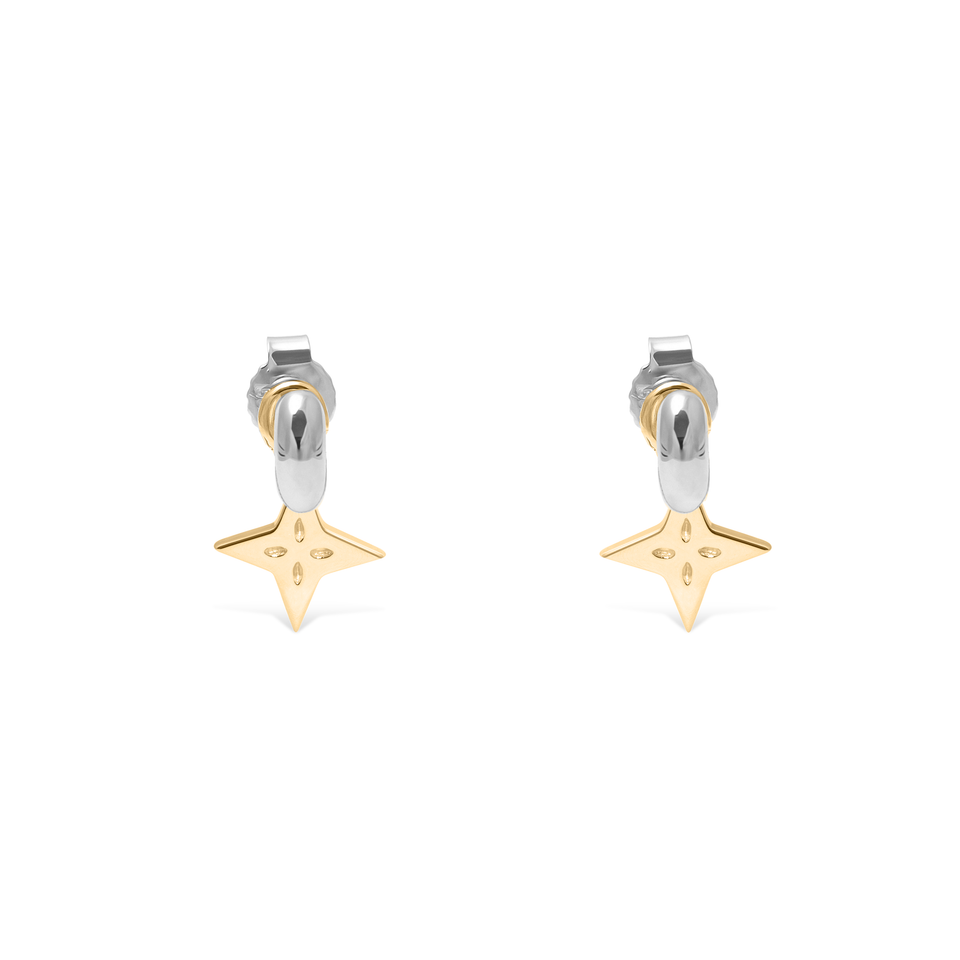 Shooting Star Pendant Set (Pair) Gold + Silver Tide Studs