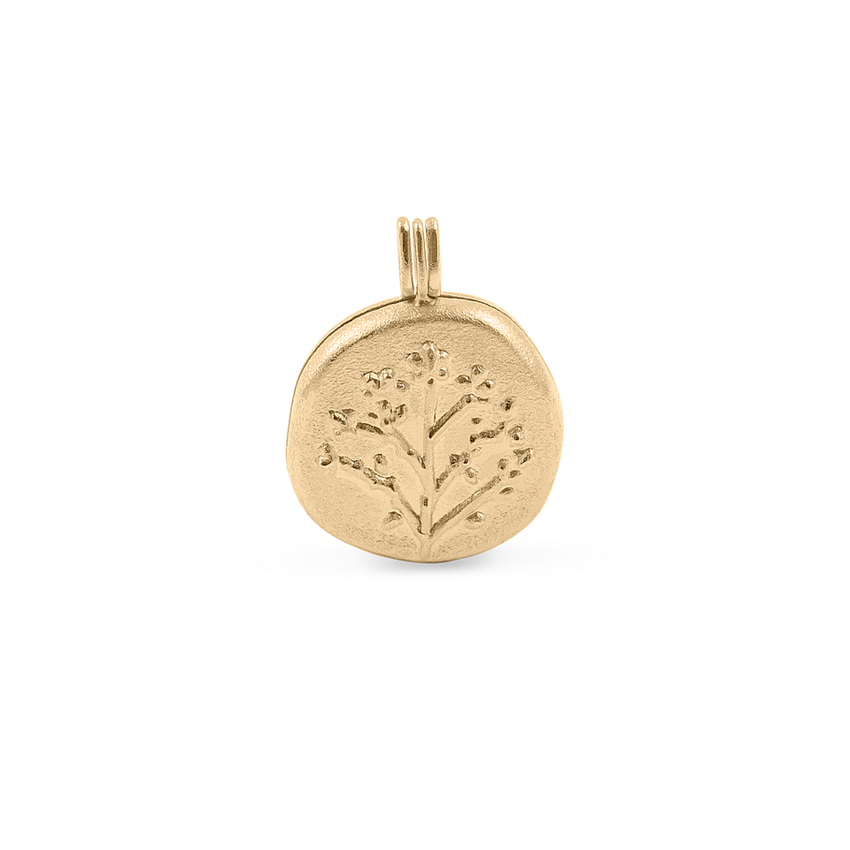 Floral Locket Pendant Solid Gold 14 ct