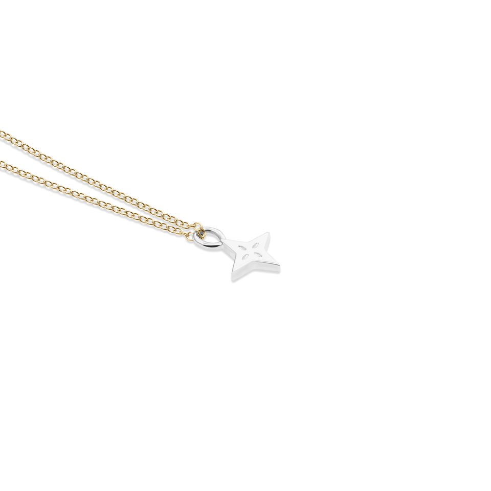Silver Shooting Star Pendant + Gold Chain