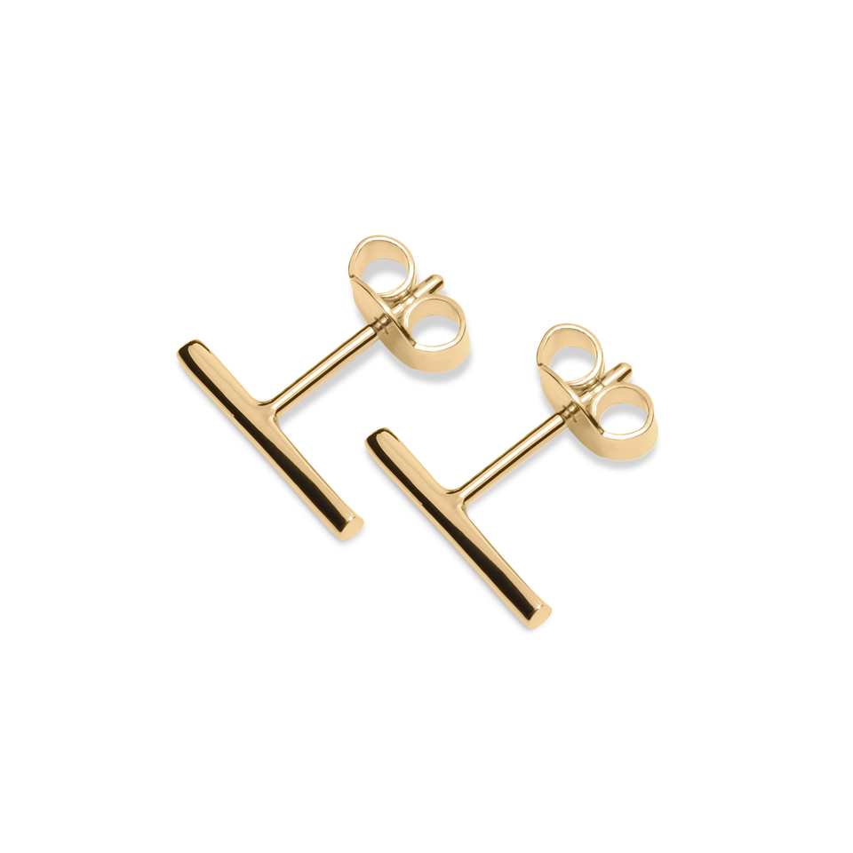 Twist Bar Earrings Solid Gold 14 ct