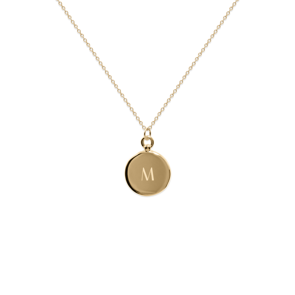 Fluid Letter Medaillon Necklace Solid Gold 14 ct - High Gloss
