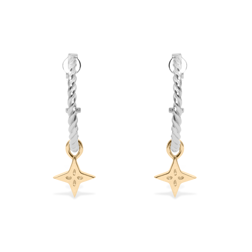 Shooting Star Pendant Set (Pair) Gold + Silver Dune Hoops