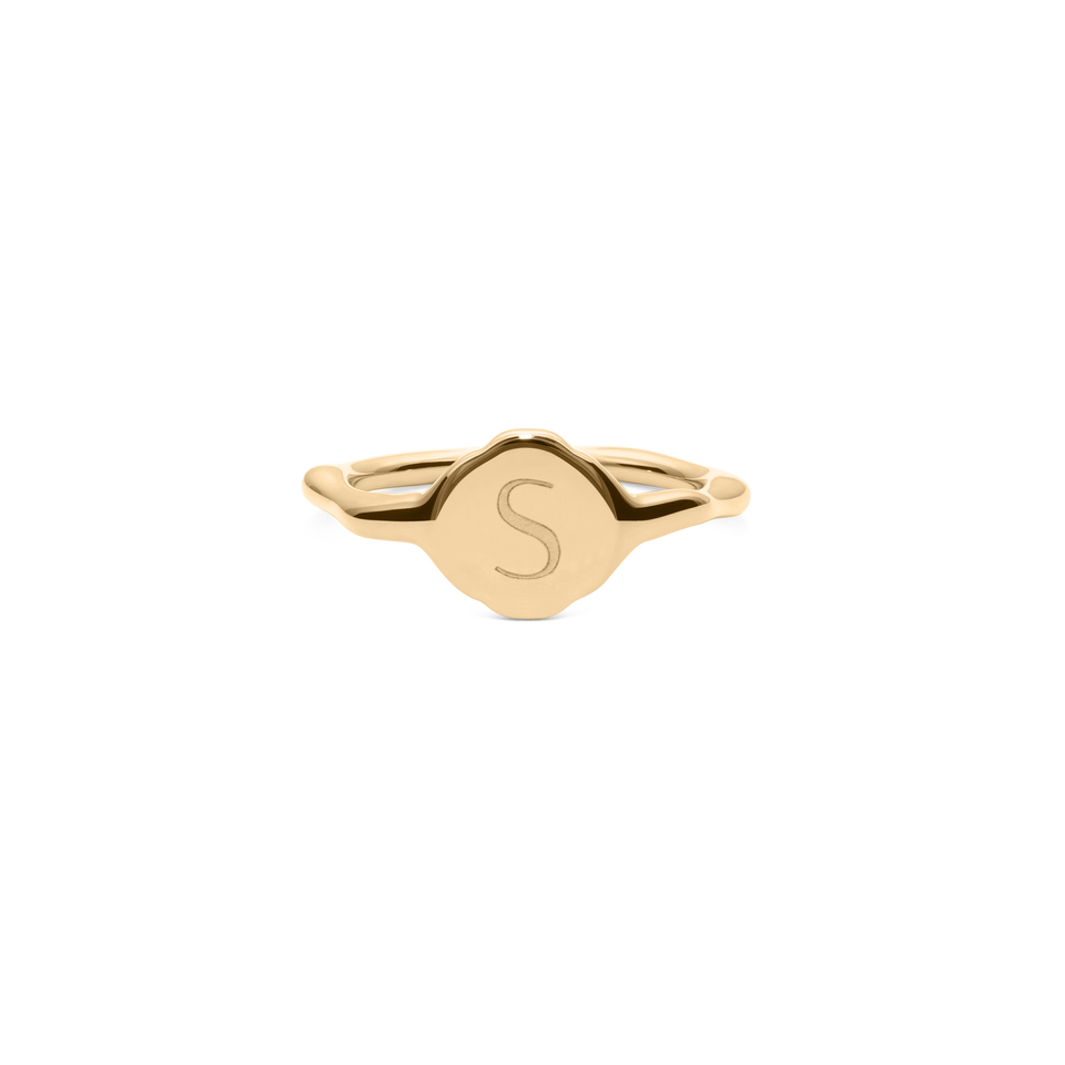 Fluid Letter Pinky Ring Solid Gold 14 ct - High Gloss