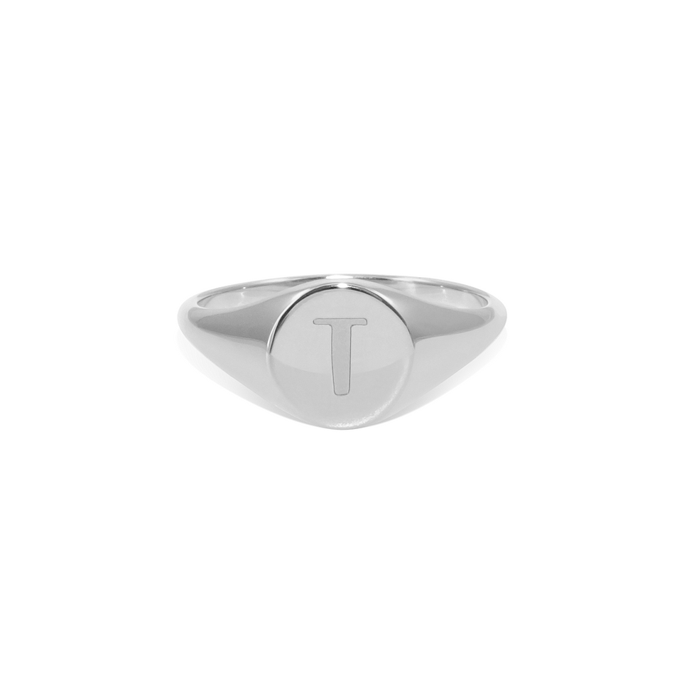 Petite Letter A - Z Signet Ring