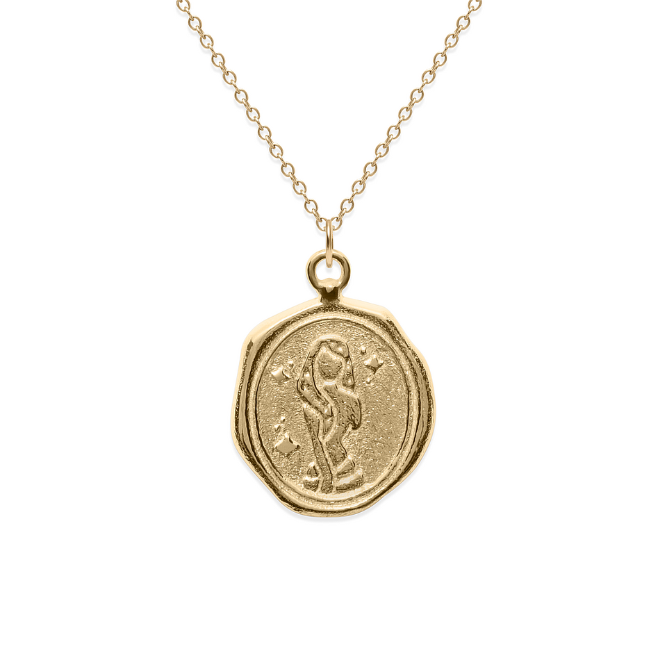 Zodiac Seal Necklace Solid Gold 14 ct